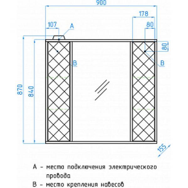 Зеркало-шкаф Style Line Агат 90/С белый/венге