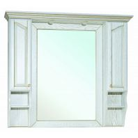 Зеркало-шкаф Рим 110 R белое патина золото