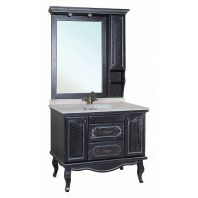 Мебель для ванной Рим 100 черная патина серебро