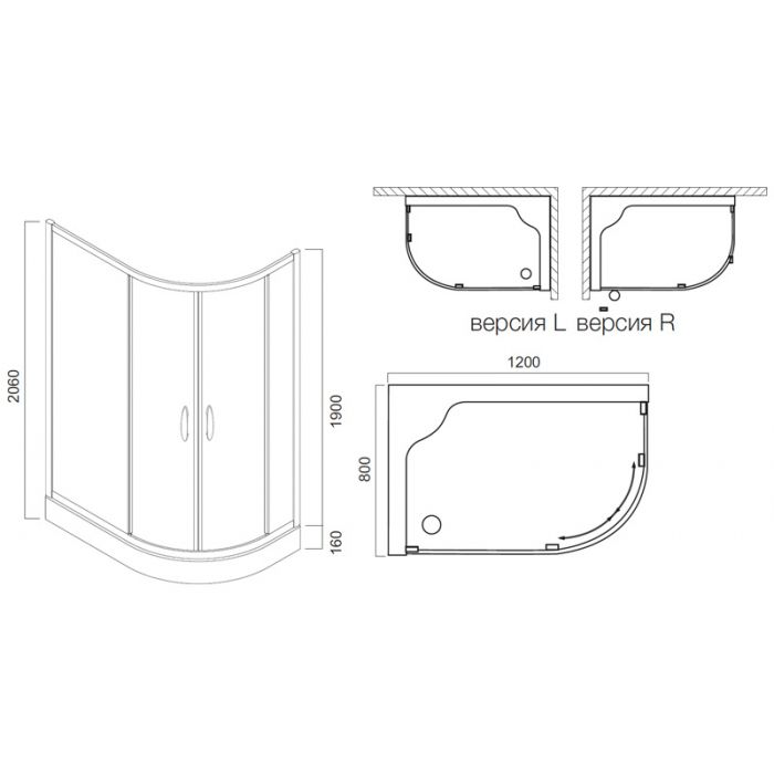 Душевой уголок Am.Pm Bliss L Twin Slide 120 профиль матовый хром, стекло прозрачное