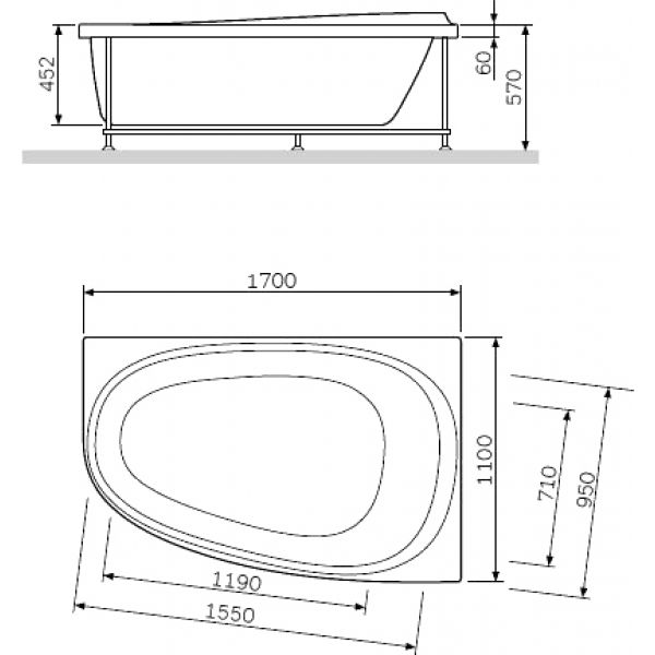Акриловая ванна Am.Pm Like 170x110 L