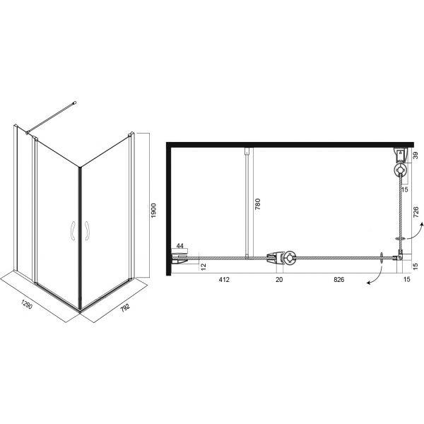 Душевой уголок Am.Pm Bliss L 130x80 см, 2 двери
