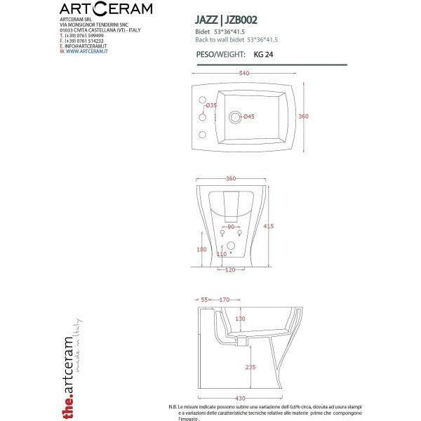 Унитаз подвесной ArtCeram Cow CWV001 03;00