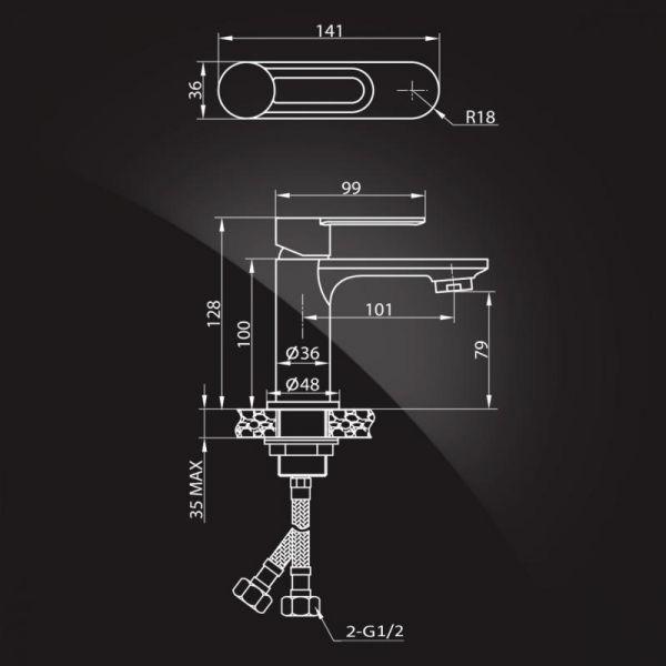Смеситель Elghansa ECOFLOW ALPHA 1650307 для умывальника однорычажный, хром
