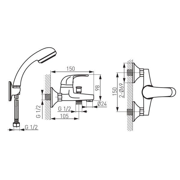 Vasto смеситель для ванны настенный с коротким изливом и душевым комплектом BVA11