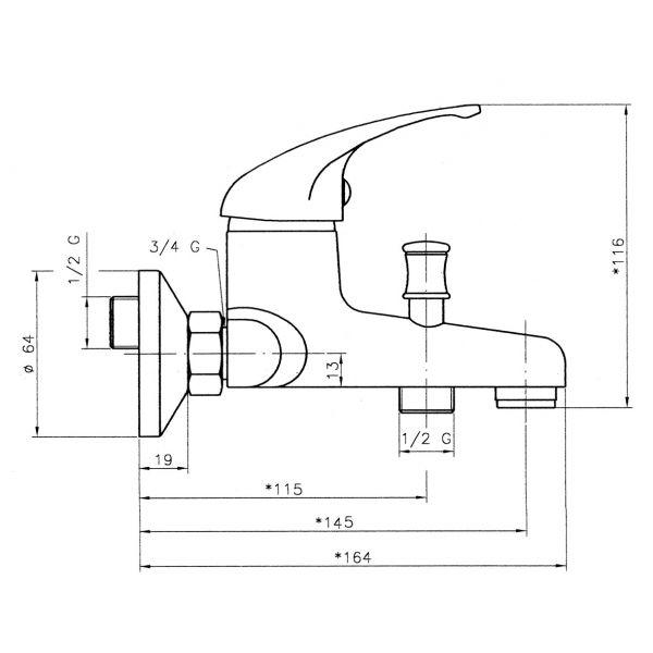 Titania Iris - смеситель для ванной настенный 92020/1.0