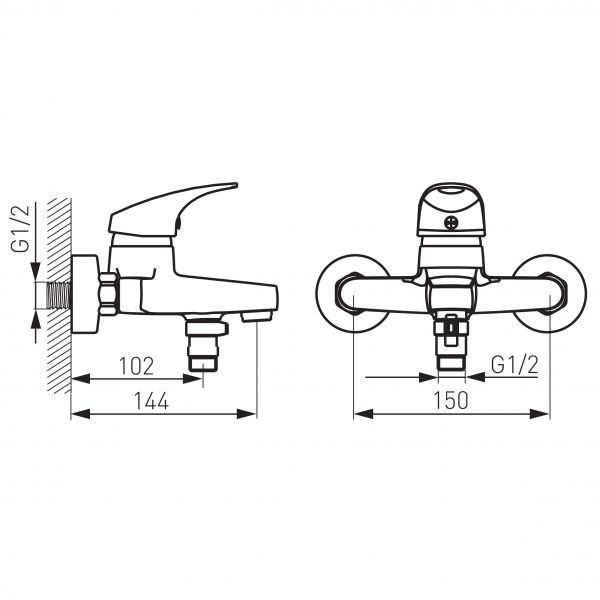 Ferro One смеситель для ванны настенный с коротким изливом без душевого комплекта BFO1