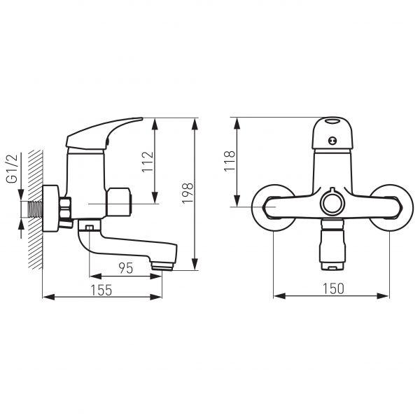 Ferro One смеситель настенный для ванны с коротким поворотным изливом 95мм BFO1A
