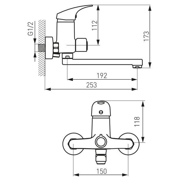 Ferro One смеситель для ванны настенный с вращающимся изливом 190 мм и душевым комплектом BFO33A