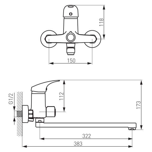 Ferro One смеситель для ванны настенный с изливом 350мм и переключателем на душ, без душевого комплекта BFO5A
