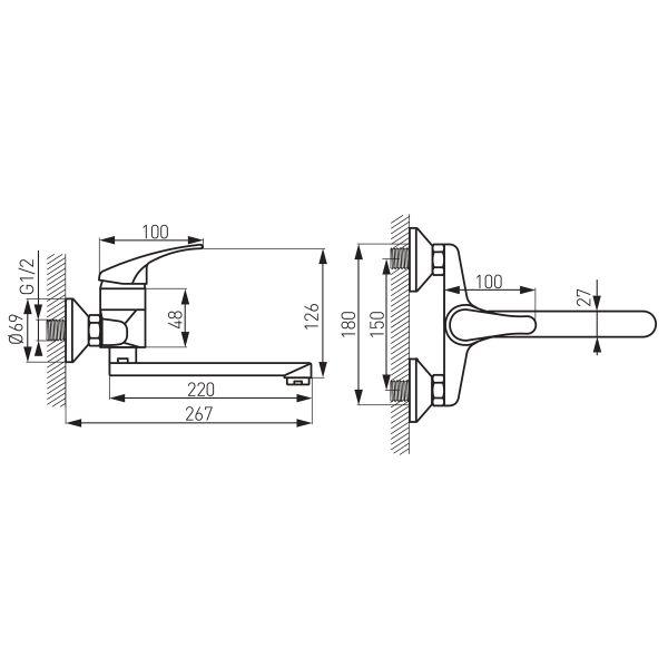 Basic смеситель для ванны настенный с изливом 350мм и переключателем на душ, без душевого комплекта BBC5