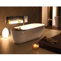 KERASAN Aquatech Ванна из пиетралуче 1700х700см ,цвет белый с накладкой из тикового дерева