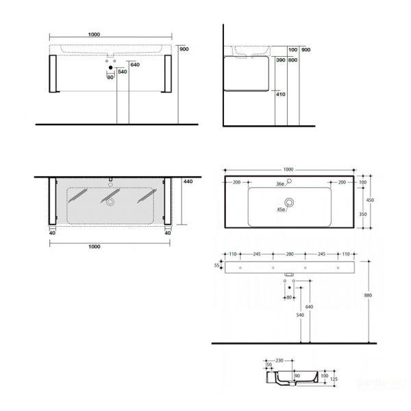 KERASAN Cento раковина 100х45 с 1отв под смеситель, белая с подвесной металлической структурой