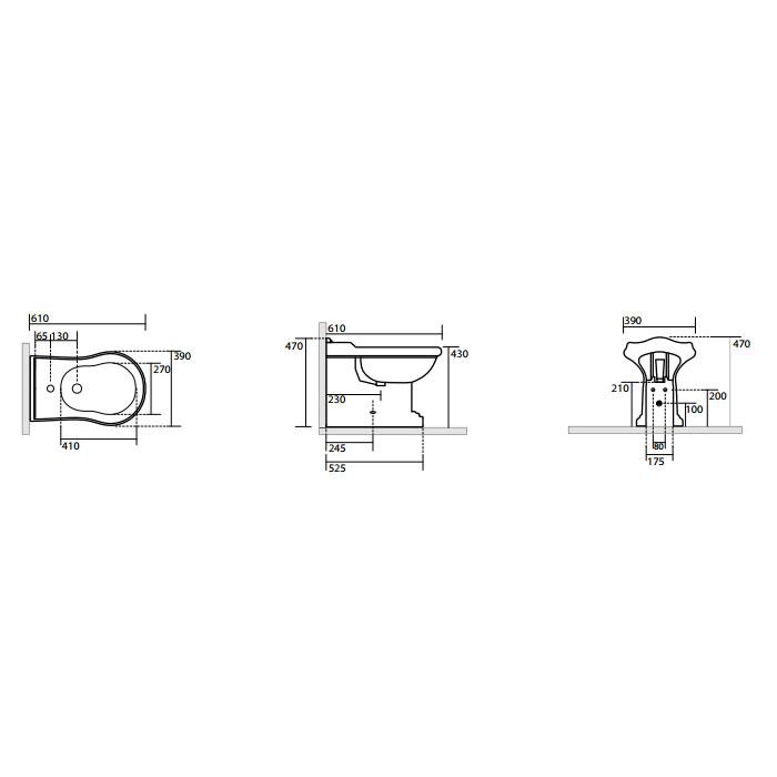 KERASAN Retro Биде напольное приставное BTW с 3 отв. под смеситель, цвет белый