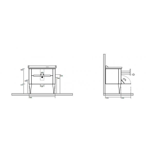 KERASAN Waldorf Комплект напольной мебели 80см, ножки БРОНЗА, с 1 ящиком и 1 дверцей, Цвета: noce