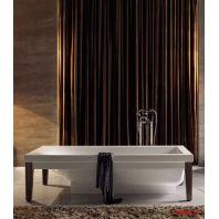 KERASAN Bentley Ванна 180х80см, crystal-tech, цвет белый с ножками из дерева