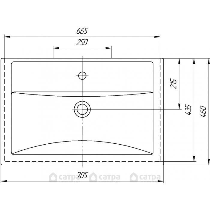 Тумба с раковиной Sanflor Анкона 70 см, (белая)