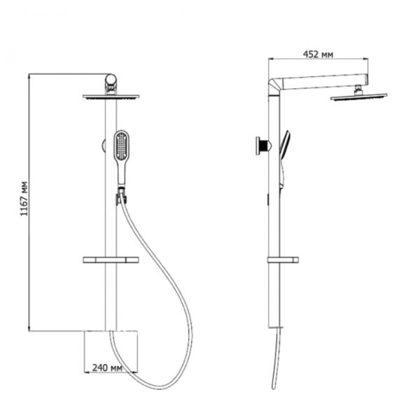 Душевая стойка  Gllon SL061-2-B