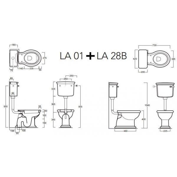 Напольный унитаз со средним бачком Simas Lante LA01+LA28B