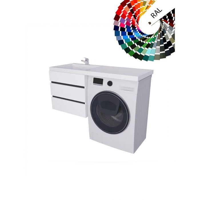 Столешница под стиральную машину с интегрированной раковиной Valente T3 21 1250, тумба T3 600 31 цветная