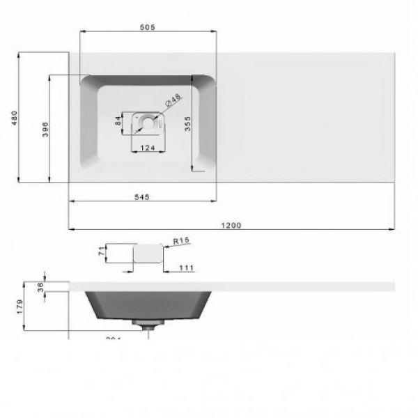 Тумба под стиральную машинку 120 см Милли (Emmy) в комплекте с раковиной