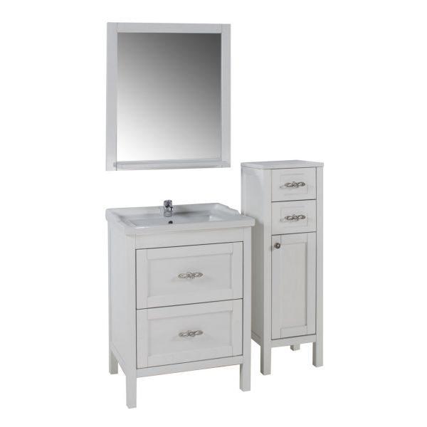 Зеркало АСБ Мебель Римини 60 белый патина