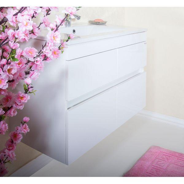Комплект мебели Бриклаер Мадрид 90 белый глянец