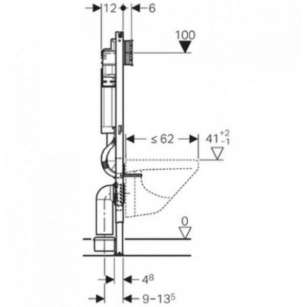 Geberit Duofix монтажный комплект Платтенбау для подвесного унитаза, Н112, клавиши Sigma, 12 cм (UP 320), фронтальное управление 111.362.00.5