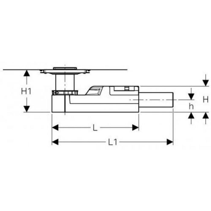 Душевой напольный трап в комплекте с решеткой, для стяжки пола от 65 мм, выпуск D40мм  154.052.00.1