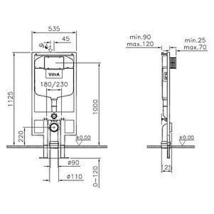 Система инсталляции для унитазов VitrA 740-5800 2.5/4 л