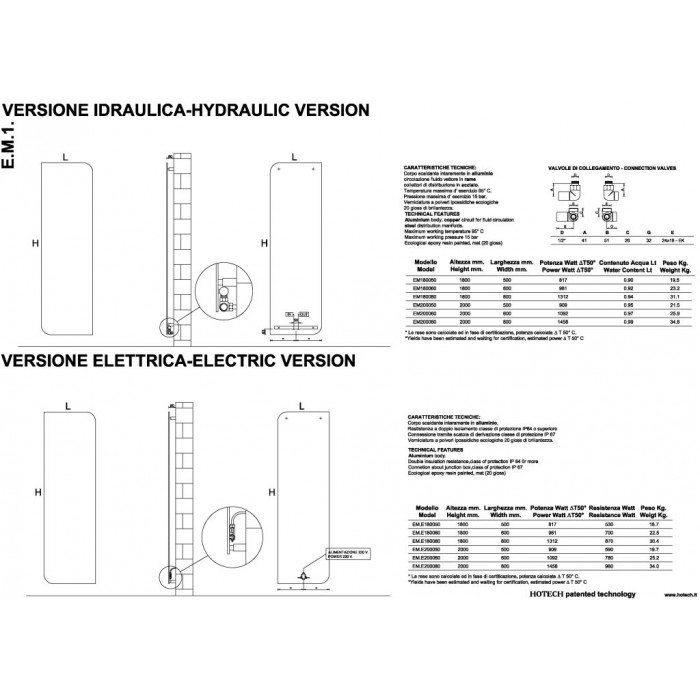 Дизайн радиатор отопления HOTECH E.M.1