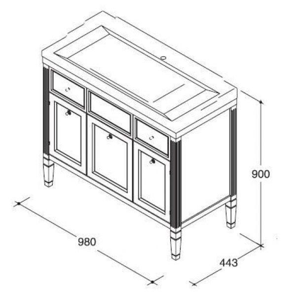Комплект мебели для ванной комнаты CAPRIGO Альбион 100 (цвет белый с позолотой)