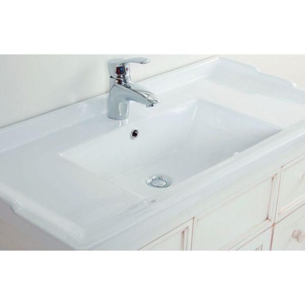 Тумба для ванной с раковиной CAPRIGO Альбион 90 (цвет белый с эффектом старения)