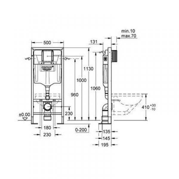 Система инсталляции для подвесных унитазов GROHE Rapid SL 38584 001