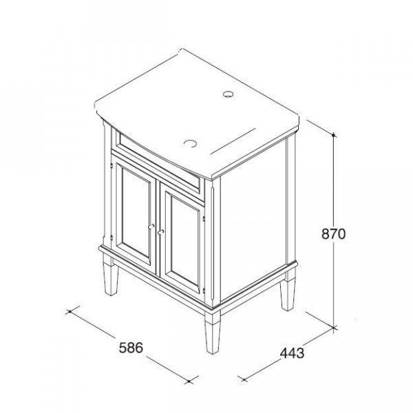 Тумба с раковиной для ванной комнаты CAPRIGO Джардин 60 (ontano antico – ольха, антика)
