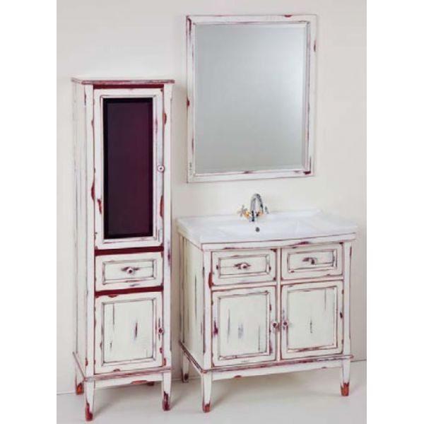 Комплект мебели для ванной комнаты CAPRIGO Джардин 80 (bianco rosso lait vintage – белый с красным, эффект старения)