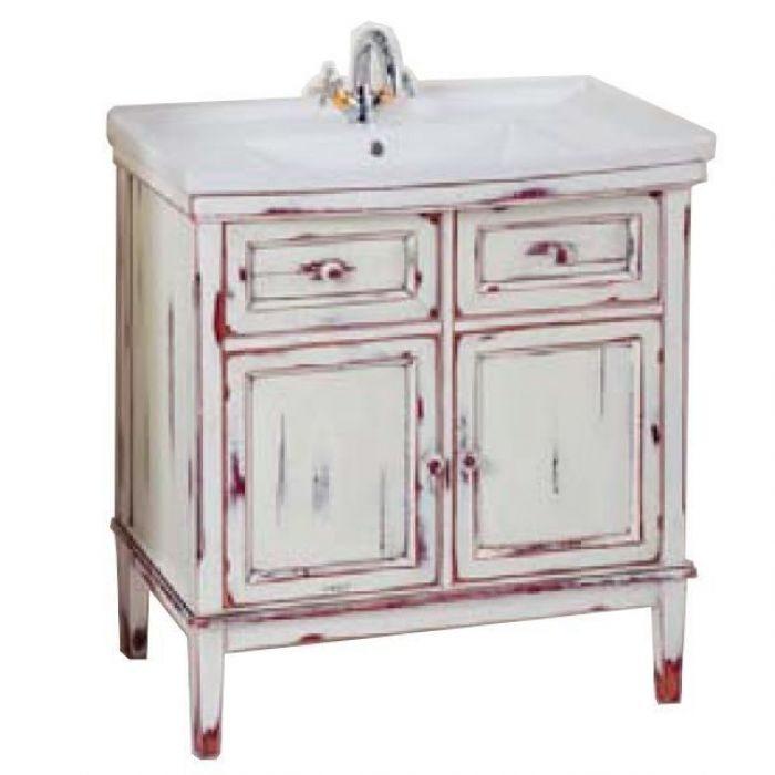 Тумба с раковиной для ванной комнаты CAPRIGO Джардин 80 (bianco rosso lait vintage – белый с красным, эффект старения)