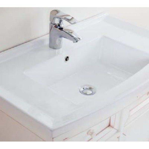 Тумба с раковиной для ванной комнаты CAPRIGO Джардин 80 (bianco lait vintage – белый, эффект старения)