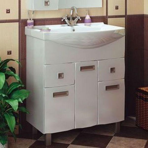 Тумба с раковиной для ванной комнаты ORIO Альпика 75 (цвет белый)