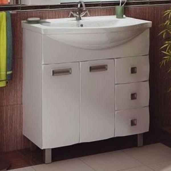 Тумба с раковиной для ванной комнаты ORIO Альпика 80 (цвет белый)