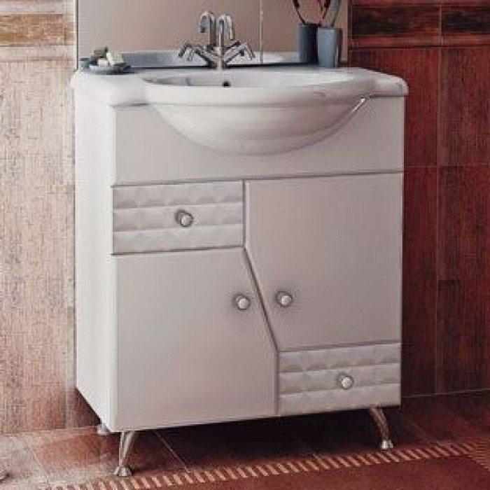 Тумба с раковиной для ванной комнаты ORIO Кристалл 70 (цвет белый)