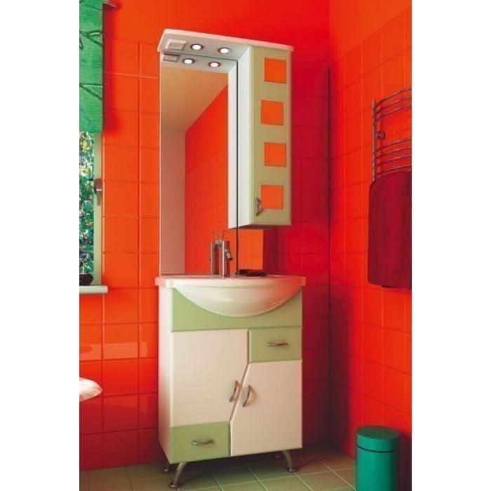 Комплект мебели для ванной комнаты ORIO Верона 60 (цвет белый с фисташковым)