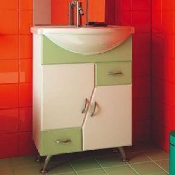 Тумба с раковиной для ванной комнаты ORIO Верона 60 цвет белый с фисташковым)