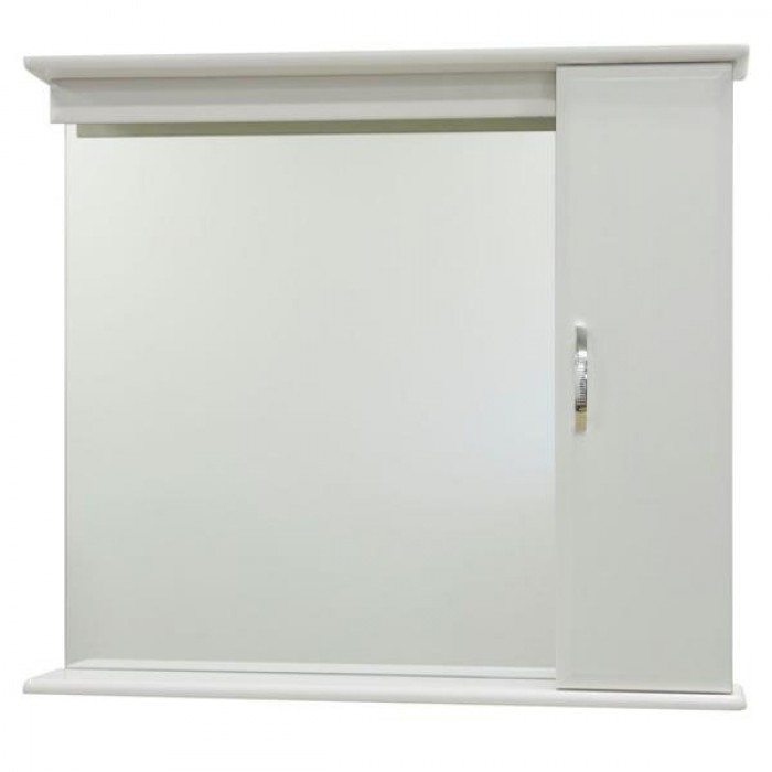 Зеркало для ванной комнаты со шкафом Тунис 85 (цвет белый)
