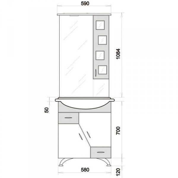 Комплект мебели для ванной комнаты ORIO Верона 60 (цвет белый с синим)