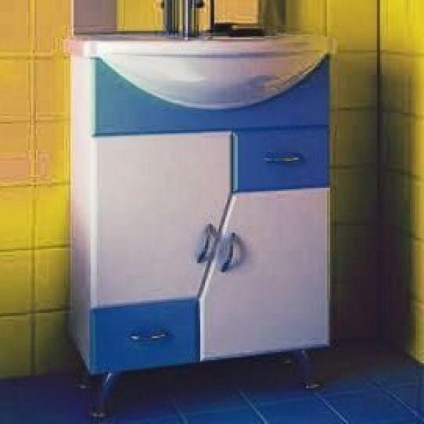 Тумба с раковиной для ванной комнаты ORIO Верона 60 (цвет белый с синим)