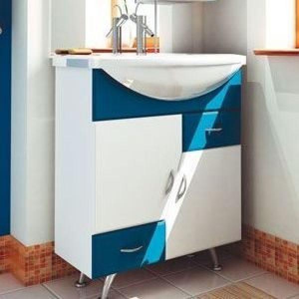Тумба с раковиной для ванной комнаты ORIO Верона 70 (цвет белый с синим)
