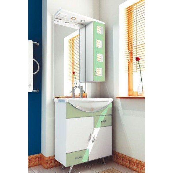 Комплект мебели для ванной комнаты ORIO Верона 70 (цвет белый с фисташковым)