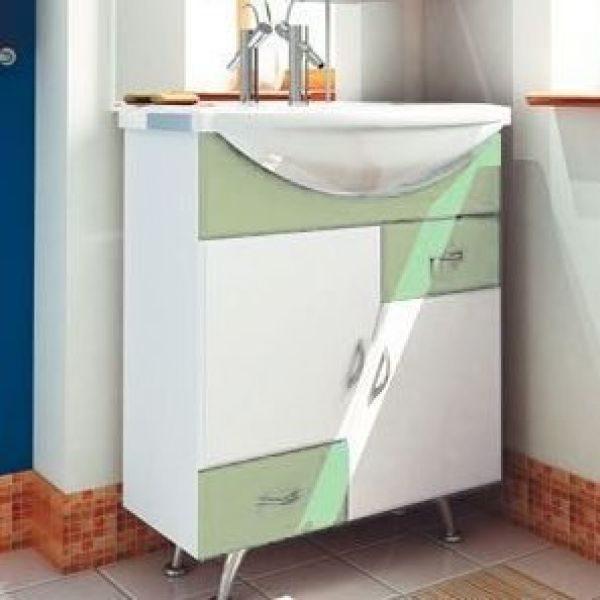 Тумба с раковиной для ванной комнаты ORIO Верона 70 (цвет белый с фисташковым)