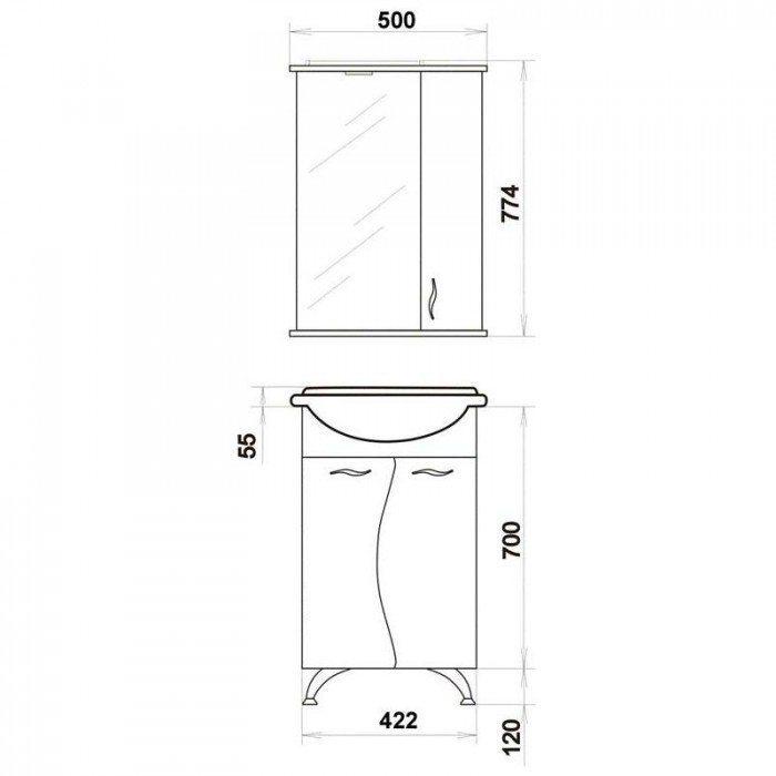 Комплект мебели для ванной комнаты ORIO Диана 45 (цвет белый)
